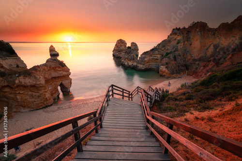Fototapeta Coves and cliffs at Ponta da Piedade the most famous spot of Algarve region, in Portugal
