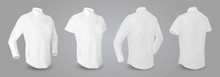 White Male Shirt With Long And Short Sleeves And Buttons In Front, Back And Side View, Isolated On A Gray Background. 3D Realistic Vector Illustration, Pattern Formal Or Casual Shirt