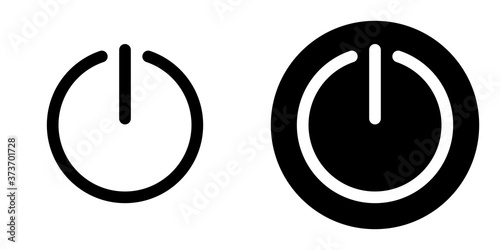 Conjunto de iconos del botón de encendido Black Line Canvas Print