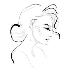 Woman face profile black and white sketch