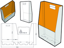 Document Storage Box With Handle Die Cut Template. (Internal Measurement 21x29.7x8cm) The .eps File Is Full Scale And Fully Functional. Prepared For Real Cardboard Production.