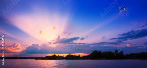 Fototapeta art Beautiful sunrise over the river water obraz