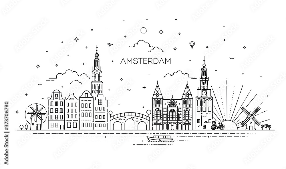 Fototapeta Amsterdam travel landmark of historical building thin line icon