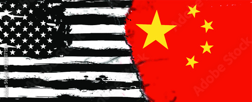 Cracked flags China-United States relations Fototapet