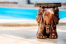 Wooden Elephant With Artistic ...