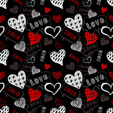 Vector Seamless Pattern, Hand Drawn Doodle Hearts, Love Illustration, Background Template, White And Red Scribble Lines On Black.
