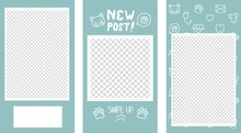 Vector Editable Stories Templates, Posts For Social Media. Veterinary Clinic Or Pet Shop Concept, Isolated On White Background