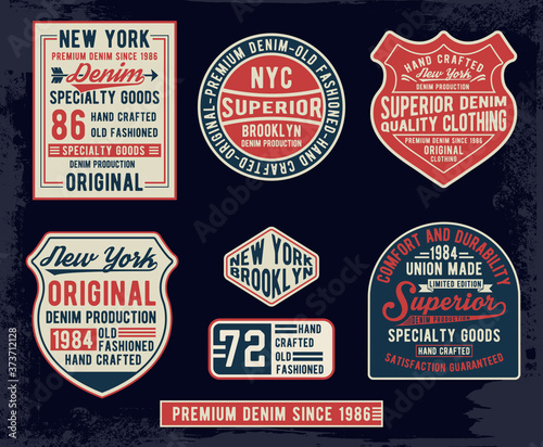 Vintage denim typography, for t-shirt prints and other uses. Canvas Print