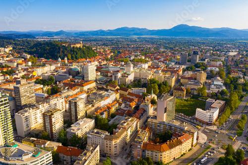 Tela Panoramic view of capital of Slovenia Ljubljana on sunny day