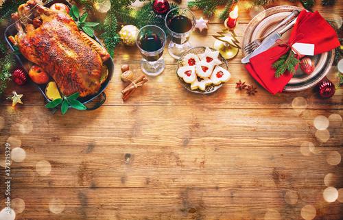 Obraz na plátně Winter Holiday table served for Christmas dinner