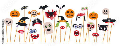 Foto Halloween photo booth props and scrapbooking vector set