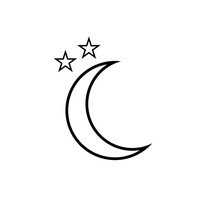 Moon Icon. Clear Night Symbol In Simple Flat Design. Weather Forecast Sign.