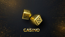 Golden Dices On Black Background With Golden Glitters. Vector Realistic 3d Illustration. Casino Or Gambling Concept. Game Sign. Shiny Cubes.