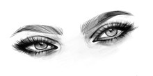 Woman Eyes Black And White Pen...