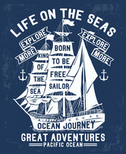 Nautical Theme Vector Graphic, For T-shirt Prints And Other Uses.