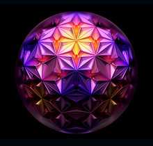 3d Render Of Abstract Art 3d Surreal Ball In Glass With Cubical Fractal Alien Mechanical Cyber Structure Inside As Quantum Mechanism In Pink And Yellow Gradient Color Metal On Black Back