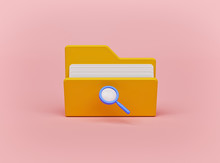 Magnifying Glass And Yellow Folder With Files. Concept Of Document Search. Minimal Design. 3d Rendering