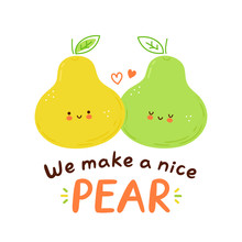 Cute Happy Pear Fruits Couple Character