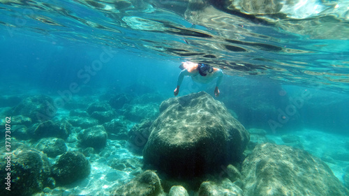 Fotografiet Sardinia crystal water underwater view while diving