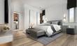 Leinwanddruck Bild The modern luxury cozy interior design of bedroom and white texture wall background