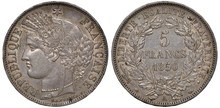 France French Silver Coins 5 Five Francs 1850, Second Republic, Laureate Liberty Head Left, Star Above, Denomination And Date Within Wreath,