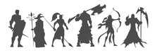 Set Of Black Silhouette Fantasy Characters, Video Game Classes