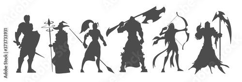 Fotografija Set of black silhouette fantasy characters, video game classes