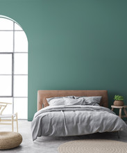 Minimal Farmhouse Bedroom Design, Interior Wall Mockup With Brown Leather Bed On Green Wall Background, 3d Render