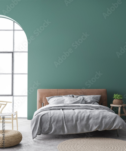 Minimal farmhouse bedroom design, interior wall mockup with brown leather bed on Fototapeta
