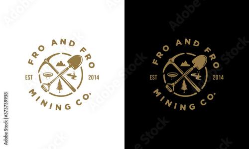Fototapeta pickaxe energy mining luxury vintage logo design illustration