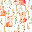 Watercolor fox pattern.