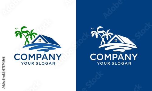 Photo Real Estate, and Beach Homes Logo Vector