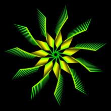 Yellow Green Flower Fractal On Black Background