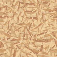 Oriented Particle Board (OSB Wood Texture). Lumber Pattern. Sheet Of Plywood With Fragments Of Compressed Sawdust. Glued Sliver Vector Seamless Background.