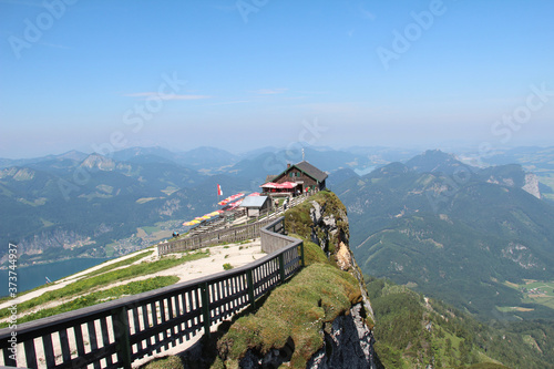 Peak of Schafberg mountain with a panoramic view to Lake Atter and scenic mounta Canvas