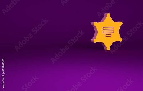 Fototapeta Orange Hexagram sheriff icon isolated on purple background