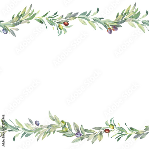 Fotografie, Tablou Hand paint watercolor seamless border with olive branch and leaves, isolated on white background
