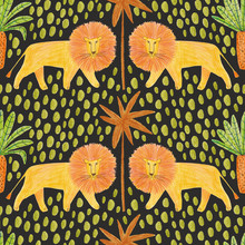Seamless Pattern With Lions An...