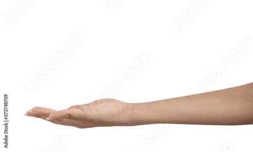 Fotografiet Woman's hand extended laterally one, nothing,
