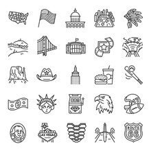United States Of America, Icon Set. American Traditions, Landmark, Clothing, Buildings, Linear Icons. Line With Editable Stroke