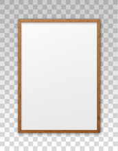 Mockup Wood Frame Photo On Wall. Mock Up Wooden Picture Framed. Vertical Boarder With Shadow. Empty Photoframe A4 Isolated On Background. Border For Design Prints Poster And Painting Image. Vector