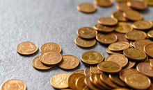Polish One Grosz Coins (one Hundredth Of A Zloty), Selective Focus.