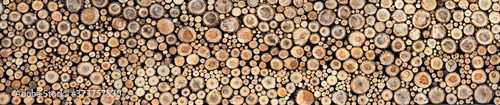 Fotografia Round wooden slices, background texture. Panorama. High detail