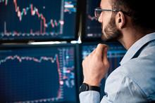 Stock Traiding. Trader Sitting...