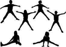 Silhouettes Of Children In Spo...