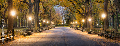 Photo The Mall in Central Park at night, New York City, USA