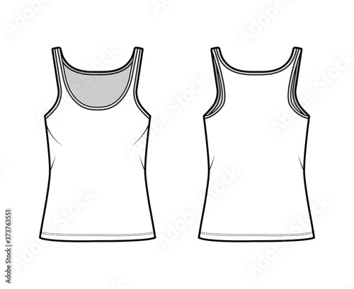 Fototapeta Cotton-jersey tank technical fashion illustration with scoop neck, relaxed fit, tunic length