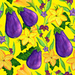 canvas print picture - Watercolor eggplant seamless pattern. Aubergine vegetable with flowers and leaves illustration for wallpaper, wrapping, background, fabric and textile, covering, poster. Autumn harvesting painting