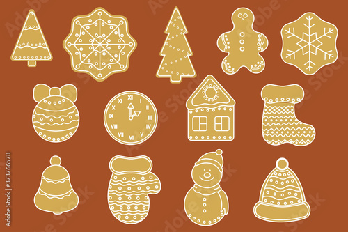 Photo Christmas gingerbread vector set