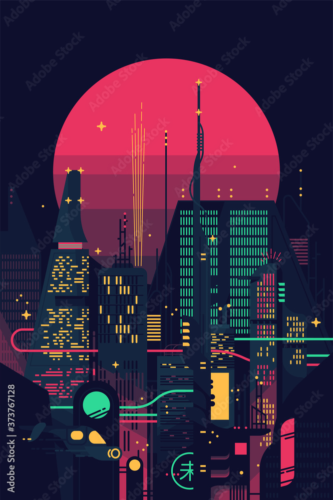 Fototapeta Cool retro futuristic synthwave background with night dystopian cityscape and gigantic pink planet or sun silhouette. Vector flat design on dark sci-fi megalopolis with neon lights, huge skyscrapers